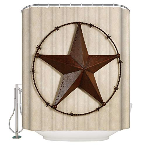 100% Polyester Fabric Shower Curtain Bathroom Decorations - Texas Lone Star Country West - Durable Waterproof Mildew Resistant Bath Curtain Sets with 12 Hooks,Machine Washable 72