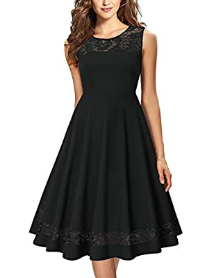 Laksmi Women's Cocktail Dress Vintage Sleeveless Floral Lace Formal Swing Dresses