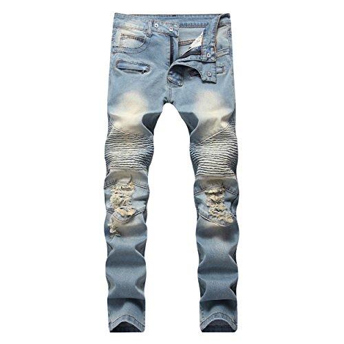 DANT BULUN Men's Ripped Slim Straight Fit Moto Biker Jeans with Zipper Deco (W32, Light Blue) ()