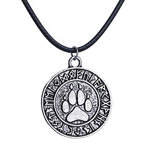 - Boormanie Odin Viking Bear Necklace Unisex,Celtic Amulet Bear Paw Claw Veles Symbol Pagan Pendant Jewelry Pewter Viking Gift
