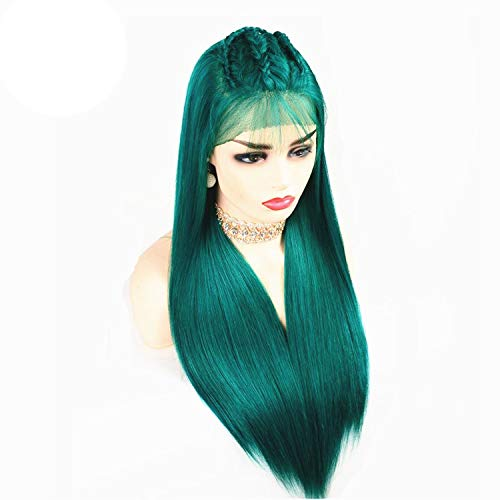 Blue Red Purple Green Lace Front Human Hair Wigs 150 180 250 Density Halo Lady Indian Straight Ombre Color Remy Hair Wigs,Green,24inches,150%