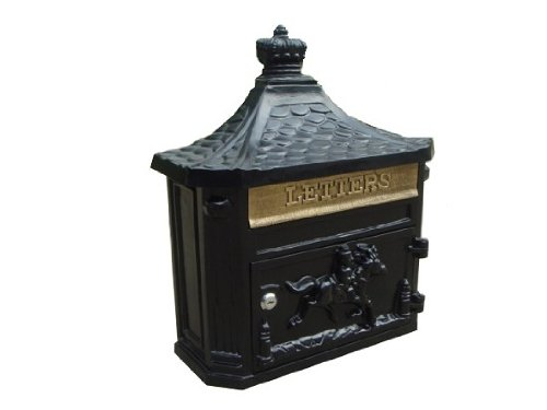 NACH JH-04B Equestrian Design Aluminum Mailbox with Key - Wall Mounted Post Box, Black, 16 x 6 x 18 inch