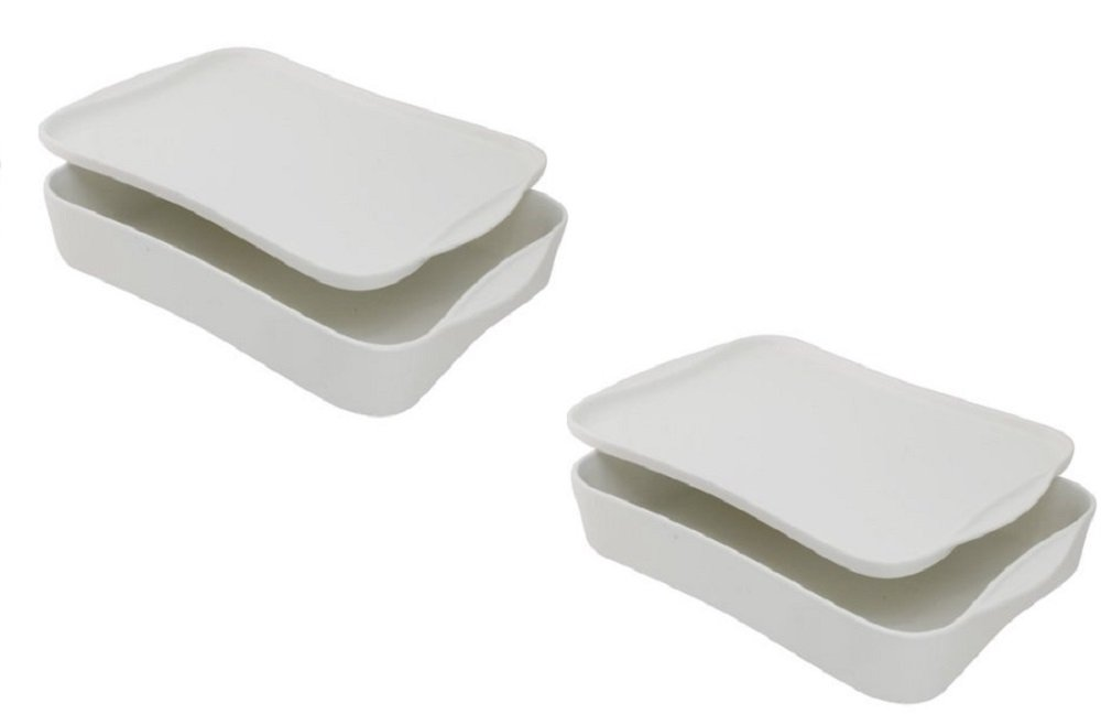 10 Strawberry Street Baker with Serving and Storing Lid, White (Set of 2)
