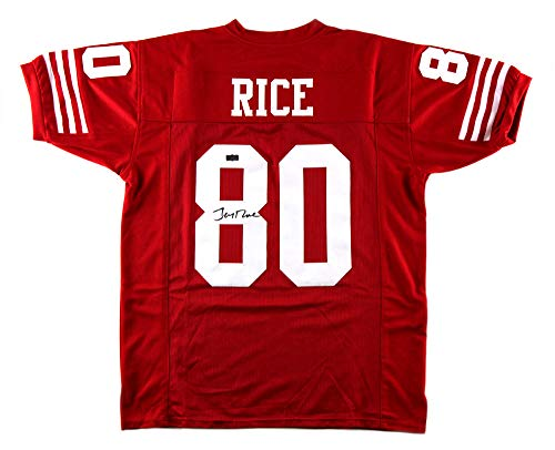 Jerry Rice Autographed/Signed San Francisco Red Custom Jersey