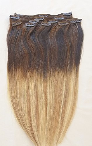 24inches 100% Ombre BALAYAGE Clip in Human Hair Extensions 7Pcs,14 clips # T2-18/613