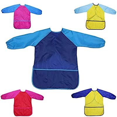 Kids Art Smocks Waterproof Art Overalls Children Artist Painting Aprons Anti-dirty Skirt with Long Sleeves & 3 Roomy Pockets for 2-6 Years Old Toddler Boys Girls,Easy to Clean,Machine Washable(D L): Toys & Games