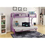 Eshion Eclipse Multi-functional Twin Over Full Futon Bunk Bed, Multiple Colors (Purple)