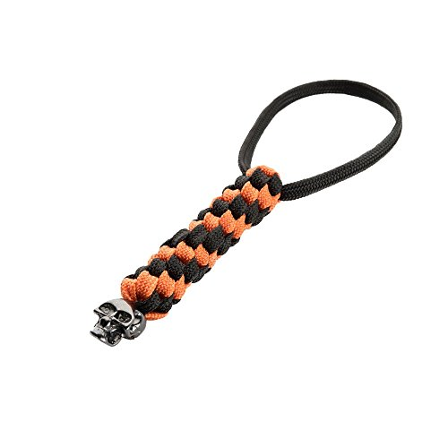 M-Tac Helix Paracord Tactical Knife Lanyard with Skull Bead (Orange)