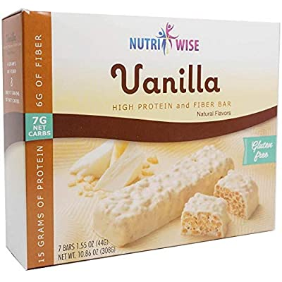 NutriWise - Vanilla Divine | Diet Bar | Low Calorie, Low Fat, High Protein, High Fiber (7/Box)