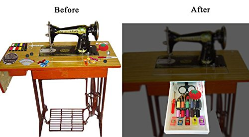 Sewing Kit Supplies Drawer with Accessories - Sticks to Any Bottom like Sewing Machine Table