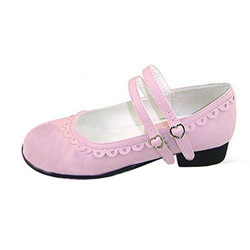 Heel Pink Low 1cm Women's Bowknot Lolita Heel Shoes Mtxc Lf141 OHwaqInxxg