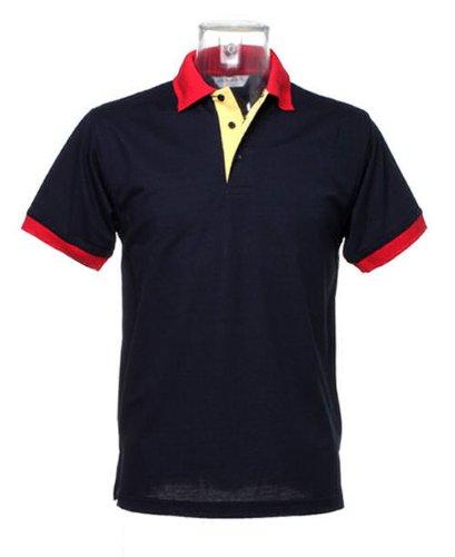 Kustom Kit Contrast Kragen und Knopfleiste polo Navy Sun Gelb pkt rot trimmen XL