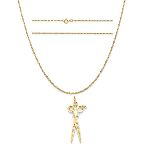 14k Yellow Gold Scissors Charm on a 14K Yellow Gold Carded Rope Chain Necklace, 20