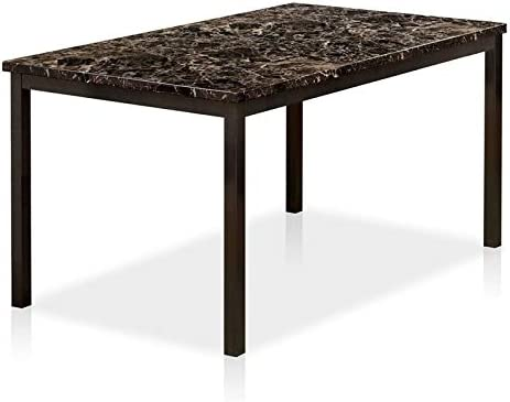 Furniture of America Maxson Faux Marble Top and Metal Dining Table