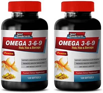 Heart Support Supplement - Omega 3 6 9 - Premium Dietary Supplement - Fish, Flax & Borage - Omega 3 6 9 Complex - 2 Bottles 240 Softgels