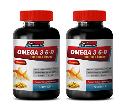 (Heart Support Supplement - Omega 3 6 9 - Premium Dietary Supplement - Fish, Flax & Borage - Omega 3 6 9 Complex - 2 Bottles 240 Softgels)