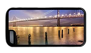 Funny iphone cover San Francisco bridge at night bright lights TPU Black for Apple iPhone 5C