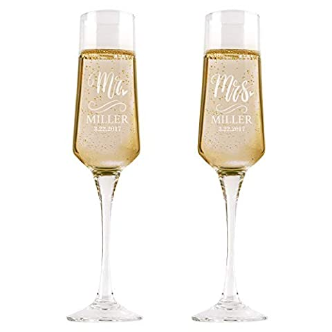 P Lab Set of 2, Bride and Groom Champagne Glasses w/ Last Name & Date, Personalized Mr. Mrs. Engagement & Wedding…