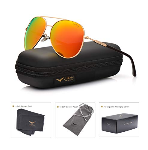 (LUENX Womens Mens Aviator Sunglasses Polarized with Case - UV 400 Protection Orange Lens Gold Frame)