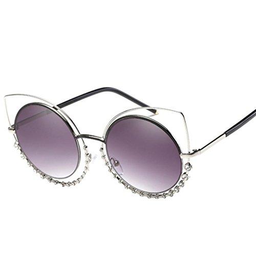 Lisingtool Diamond Cat Eye Mirrored Flat Lenses Street Fashion Metal Frame Women Sunglasse (Silver, - Sunglasse Designer