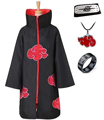 Anime Naruto Akatsuki/Uchiha Itachi Cosplay Halloween Christmas Party Costume Cloak Cape with Headband Necklace Ring (XL) Black