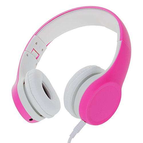 Volume Limited Wired Kids Headphones with Mic Detachable Cable and Sharing Music Ports for Children(Pink)