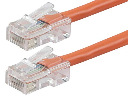- Monoprice Cat5e Ethernet Patch Cable - 0.5 Feet - Orange, RJ45, Stranded, 350Mhz, UTP, Pure Bare Copper Wire, 24AWG - Zeroboot Series