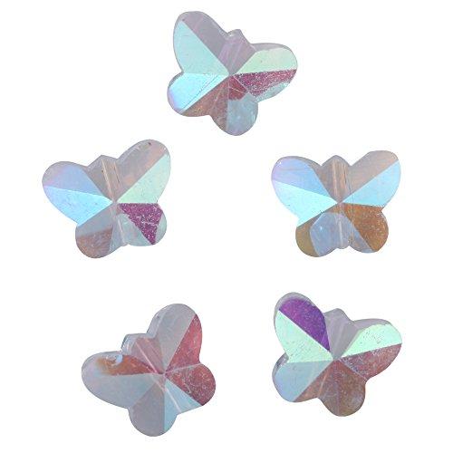 Ab Glass Necklace (20pcs Top Quality Czech Butterfly Crystal Glass beads 10mm Crystal AB #5754 Alternatives for Swarovski Preciosa Bead CCT1002)