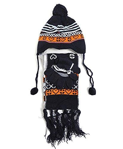Boy's Peruvian Double-Sewn 3-Piece Glove, Hat & Scarf Set, Navy
