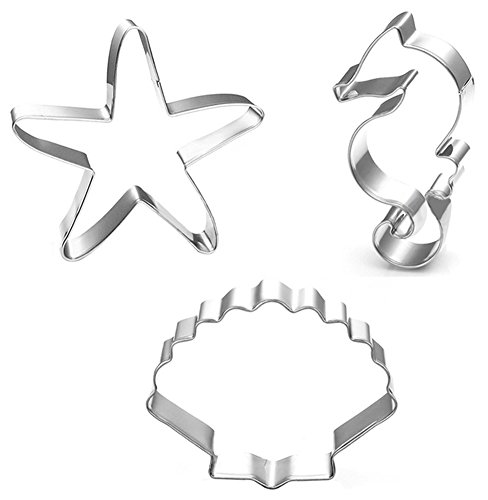 Hestio 3pcs Starfish Shell Shaped Stainless Steel Cookie Biscuit Cutter DIY Baking Mould Sculpting Tools
