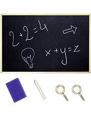 Creative Home 80 x 60 cm Krijt-bord Schoolbord Kennisgeving Dik Houten Frame + Krijt en Spons   Gemaakt in de EU   Perfect voor Restaurant, Kantoor, School, Pub & Thuis
