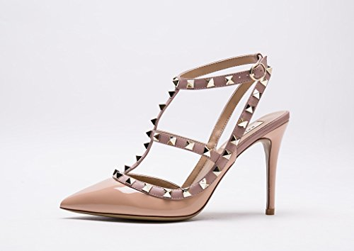 Kaitlyn Pan Women's Leather Studded Slingback High Heel Pumps Nude Patent/Nude Straps/Gold Studs STYLB8UNd