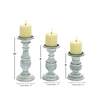 Deco 79 Wood Candle Holder, 10 by 8 by 6-Inch, White, Set of 3