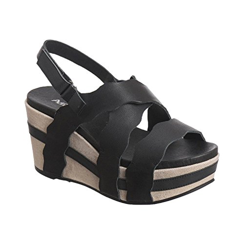 Antelope Women's 860 Black Leather Scalloped Classic Wedge Sandals 39