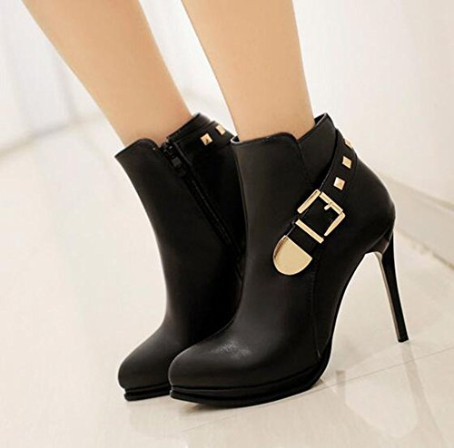 Boots Pointed Knight `Stiletto Black Platform Heel Buckle Toe Womens Solid CHFSO Sexy Zipper High With IORqTnw