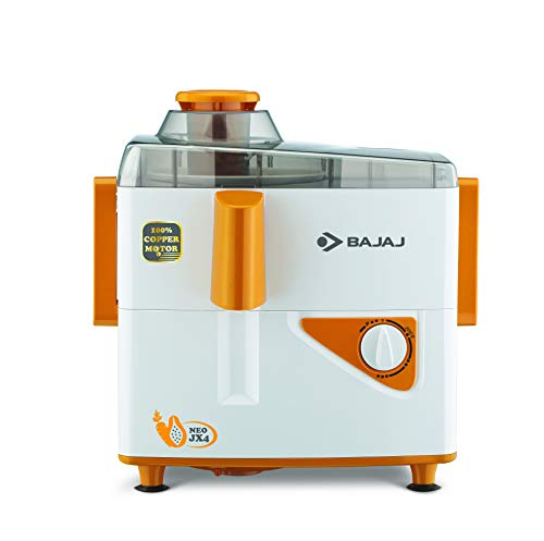 Bajaj Neo JX4 450-Watt Juicer Mixer Grinder with 2 Jars (White/Orange) 2