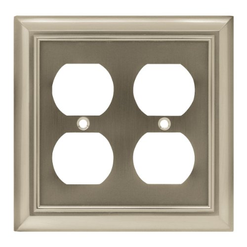 Nickel Satin Switch Double (Brainerd 64165 Architectural Double Duplex Outlet Wall Plate / Switch Plate / Cover satin nickel)