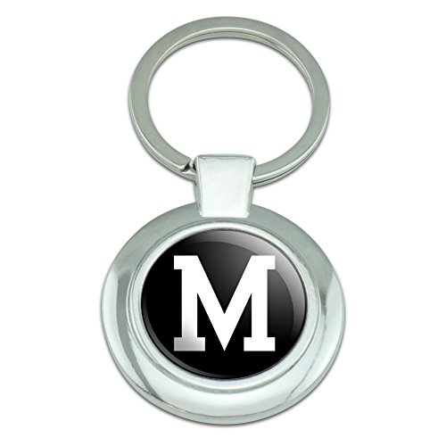 (Graphics and More Letter M Initial Black White Classy Round Chrome Plated Metal Keychain)