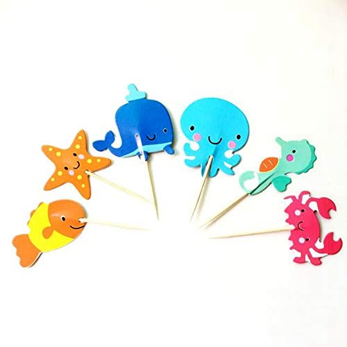 GrantParty 24pcs Seas Oceansn Animals Theme Cupcake Topper Pick Kids Birthday Party Supplies Decorations Seabed Crab Starfish Whale Octopus