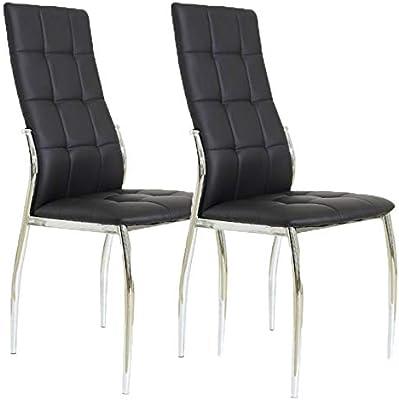 Miroytengo Pack 2 sillas Comedor Laci Negras Polipiel Metal Salon Estilo Moderno Cromado 101x54x46: Amazon.es: Hogar