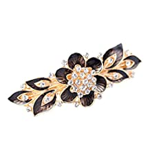 YAZILIND Elegant Jewelry Charming Floral Style Gold Plated Bridal Hair Accessory Shinning Rhinestone Crystal Hair Barrette for Women Clips Hair Hairpins( Black Gray)