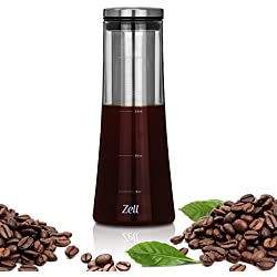 Zell Cold Brew Coffee Maker | Premium Borosilicate Glass| Fine Mesh Stainless Steel Filter | Perfect for Iced Coffee, Iced Tea or Fruit Infused Water | 1 Quart (1000 ml)