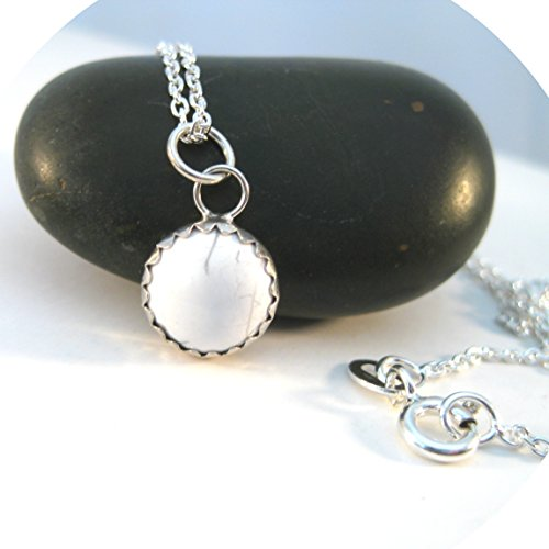White Howlite Necklace, White Gemstone and Sterling Silver Pendant 10mm