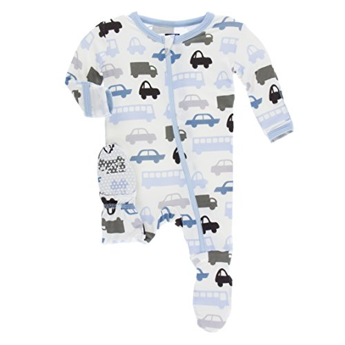 KicKee Pants Little Boys Print Footie with Zipper - Natural Cars and Trucks, 0-3 Months
