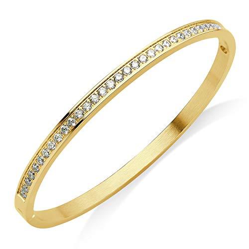 (555Jewelry Womens Stainless Steel Metal Cubic Zirconia CZ Sparkle Cuff Hinged Lock Charm Hypoallergenic Fine Fashion Jewelry Bangle Bracelet, Yellow Gold)