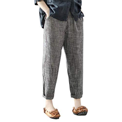 iYYVV Plus Size Womens Striped Cotton Linen Ankle-Length Wide Leg Pants Trousers ()