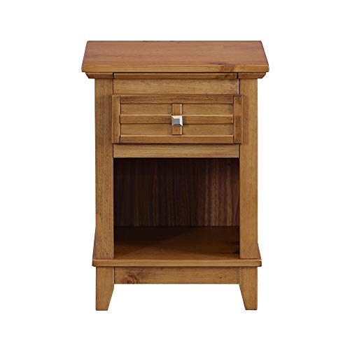 Bedroom Teak Nightstand - MUSEHOMEINC Rustic Wood Nightstand/End Table with Drawer, and Pull-Out Tray/End Table for Bedroom Open Cabinet Storage Home Furniture,Teak Finish