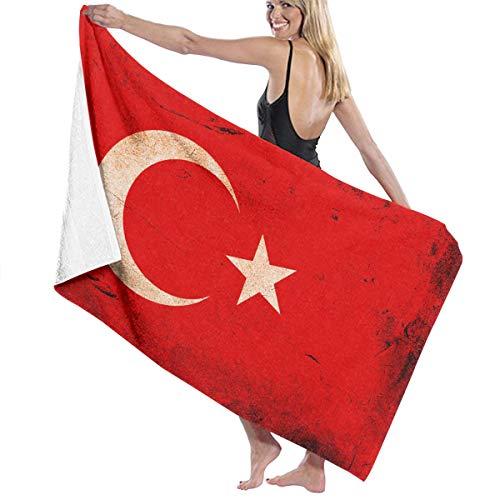 コンピューターを使用する消毒剤同情ビーチバスタオル バスタオル トルコの国旗 風呂 海水浴 旅行用タオル 多用途 おしゃれ White