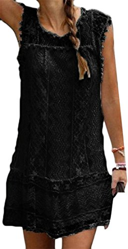 Cromoncent Femmes Patchwork En Dentelle Sans Manches Mini-solide Doublure Creuse Robe Noire