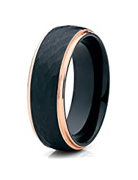 Silly Kings 8mm Rose Gold Tungsten Carbide Wedding Ring Mens Hammered Design Classic Womens Unisex Band